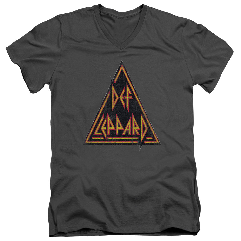 Def Leppard - Distressed Logo Short Sleeve Adult V Neck