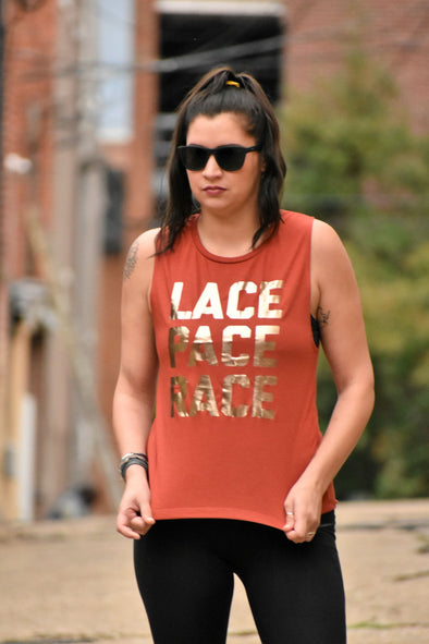 Lace Pace Race- Muscle Tank - OnYourMarQ Running Co.
