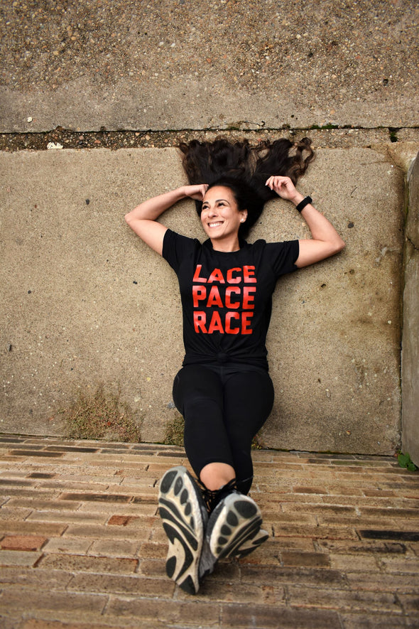 Lace, Pace, Race - Unisex Triblend Tee - OnYourMarQ Running Co.