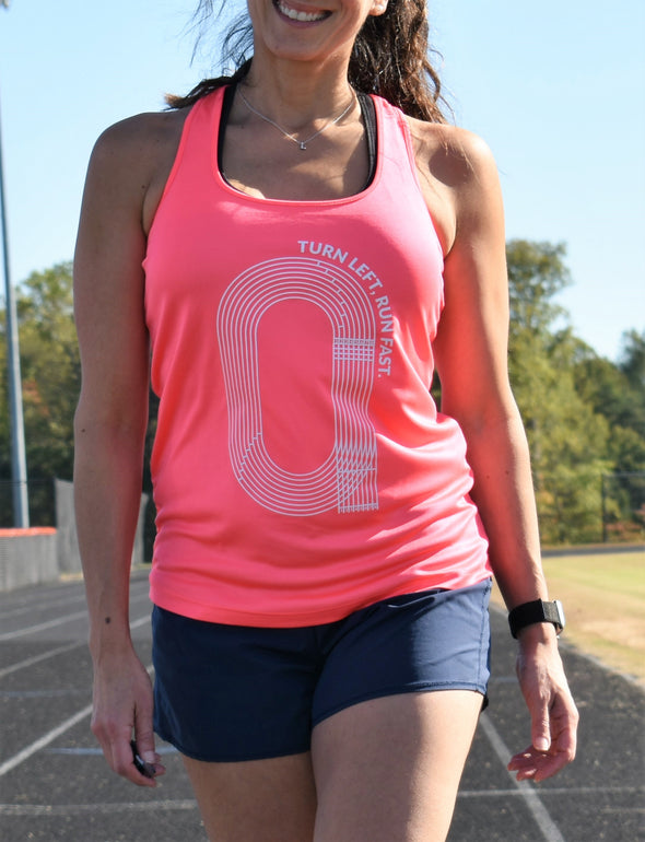 Turn Left, Run Fast.- Performance Racerback Tank - OnYourMarQ Running Co.