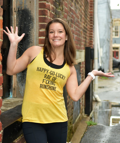 Happy-Go-Lucky Racerback Triblend Tank - OnYourMarQ Running Co.