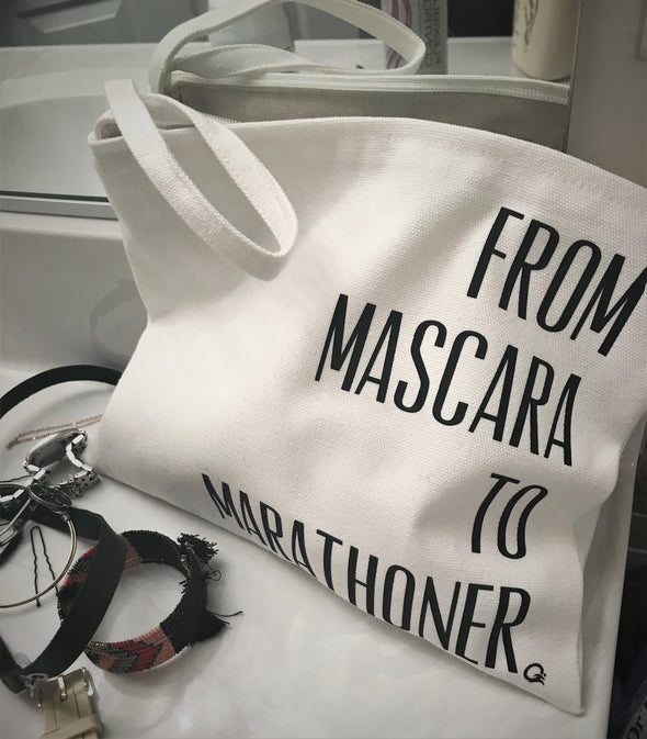 Mascara to Marathoner - Zipper Bag with Wristlet,  Cosmetic Makeup Bag - OnYourMarQ Running Co.