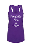 Ponytails, PR's & Pizza-Racerback Tank - OnYourMarQ Running Co.
