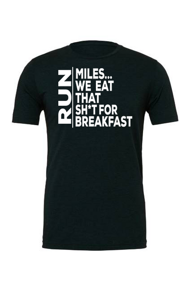 Miles for Breakfast - Unisex Triblend Tee - OnYourMarQ Running Co.