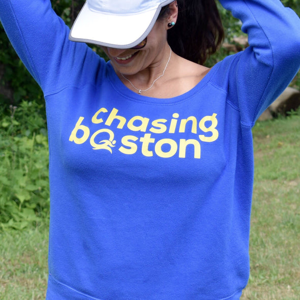 Chasing Boston®️ - Off the Shoulder, On the Road Sweatshirt - OnYourMarQ Running Co.