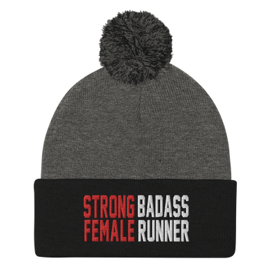 Strong Female Badass Runner Pom-Pom Beanie - OnYourMarQ Running Co.