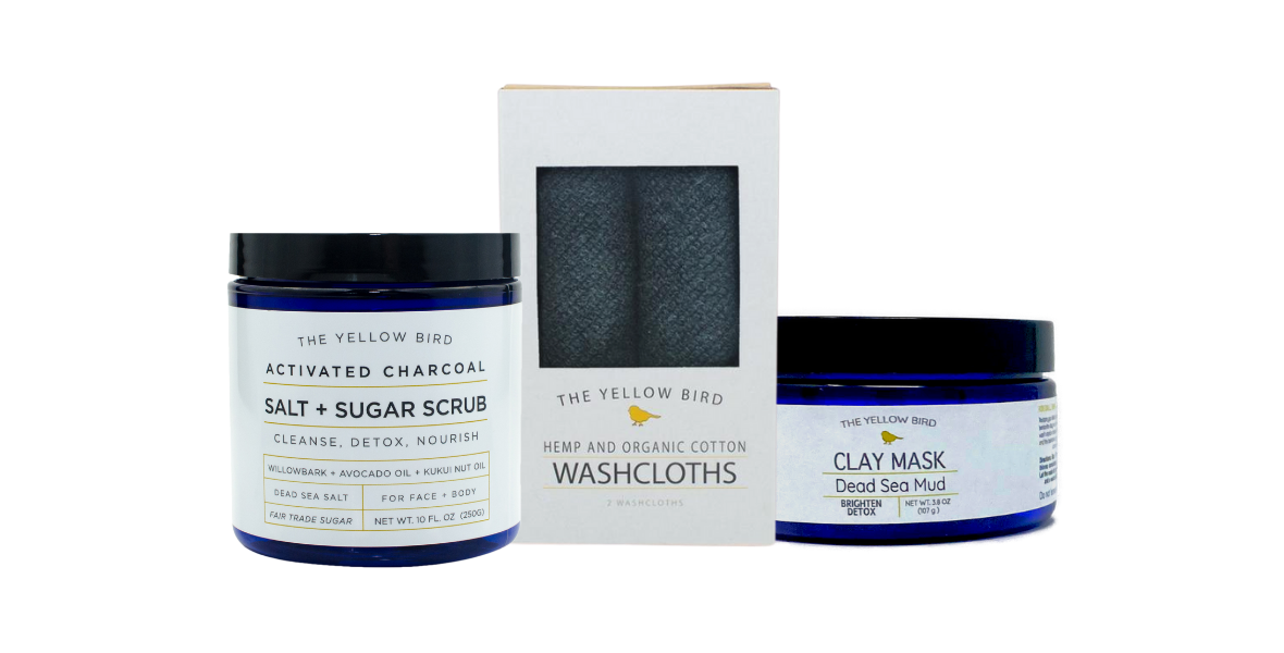 the yellow bird all natural exfoliating skincare products