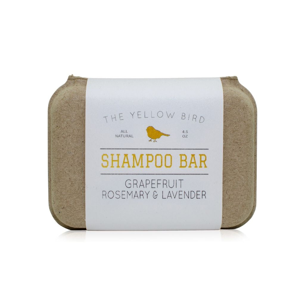 all natural handmade grapefruit, rosemary, and lavender zero waste shampoo bar