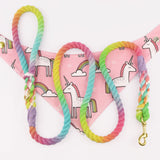 "Unicorn Rainbow 1/2"" Rope Leash"
