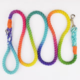"Classic Rainbow 3/8"" Rope Leash"