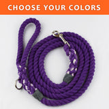 "Solid Custom Color 3/8"" Rope Leash (6ft)"