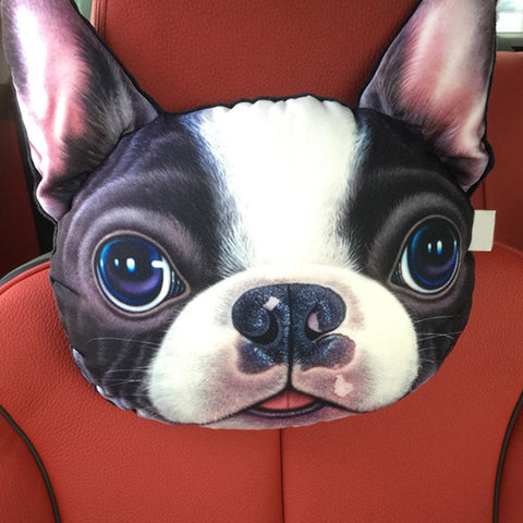 3D Dog Face Car Headrest Pillow