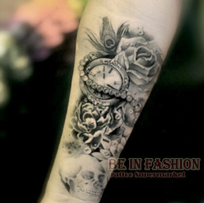 Black And Gray Skull & Rose Temporary Tattoo