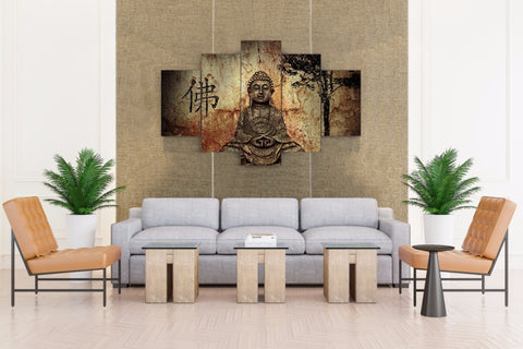 LIMITED EDITION - 5 Piece Framed Buddha Canvas Print