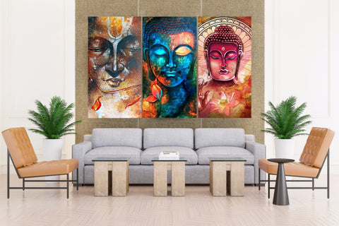 LIMITED EDITION - Abstract Buddha 3 Piece Canvas Print