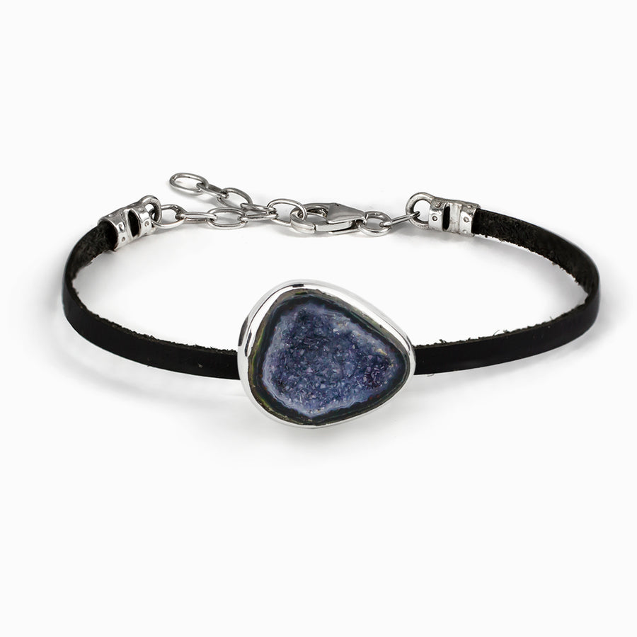 Agate Geode Leather Bracelet