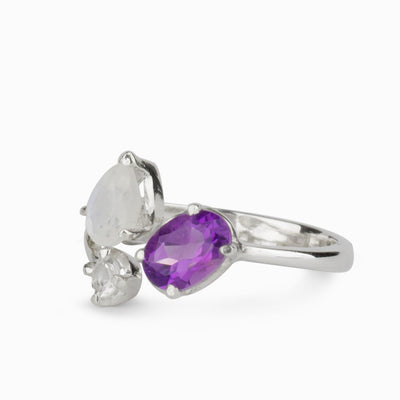 Amethyst, Rainbow Moonstone & Clear quartz Ring