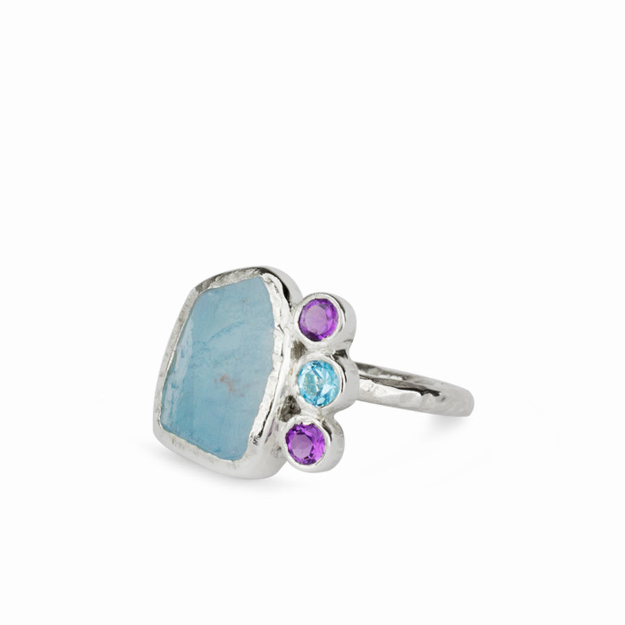 Aquamarine, Amethyst & Blue Topaz Ring