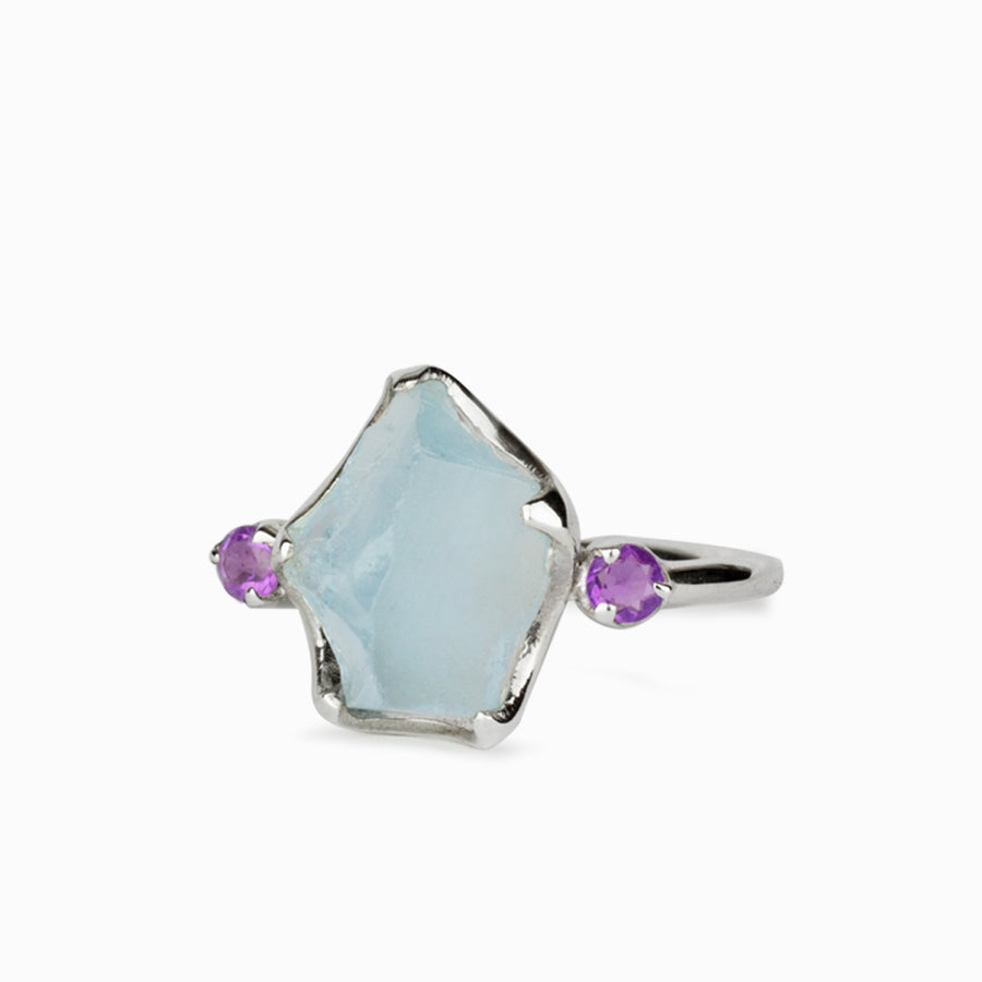 Aquamarine and Amethyst Ring
