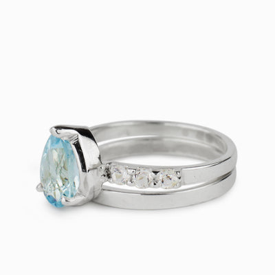 Aquamarine & White Topaz Ring
