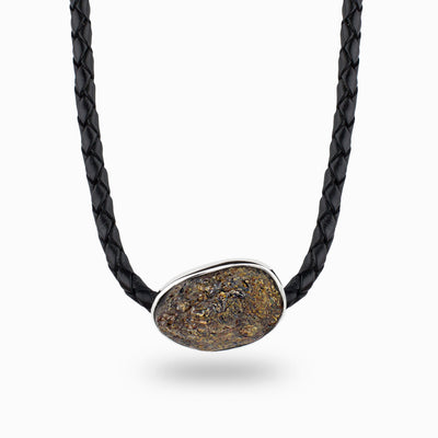 Astrophyllite Leather Necklace