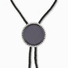 Black Onyx & White Topaz Leather Necklace