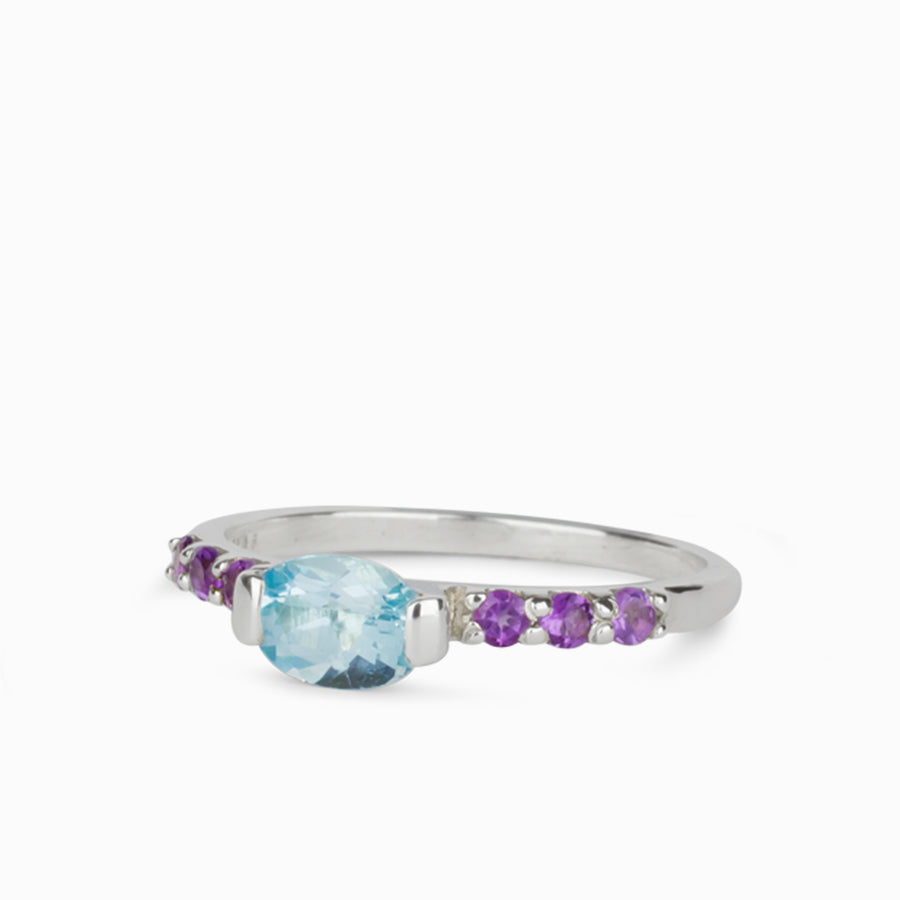 Blue Topaz and Amethyst Ring