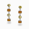 Citrine & Carnelian Stud Drop Earrings