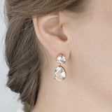 Clear Quartz Stud Drop Earrings