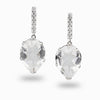 Clear Quartz & White Topaz Stud Drop Earrings