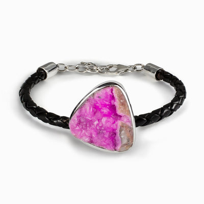 Cobaltian Calcite Leather Bracelet