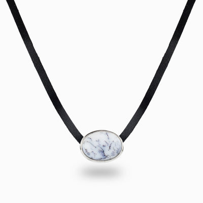 Dendritic Opal Leather Necklace