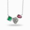 Rough Diamond, Emerald & Ruby Necklace