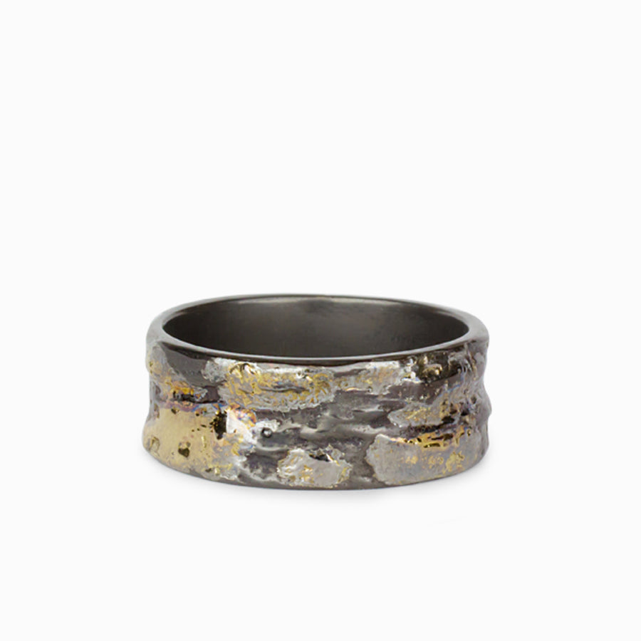 18k Gold & Oxidised Sterling Silver Mens Ring