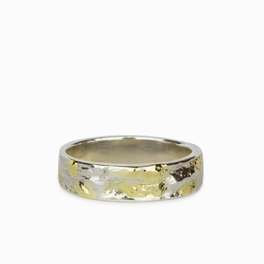 18k Gold & Sterling Silver Mens Ring