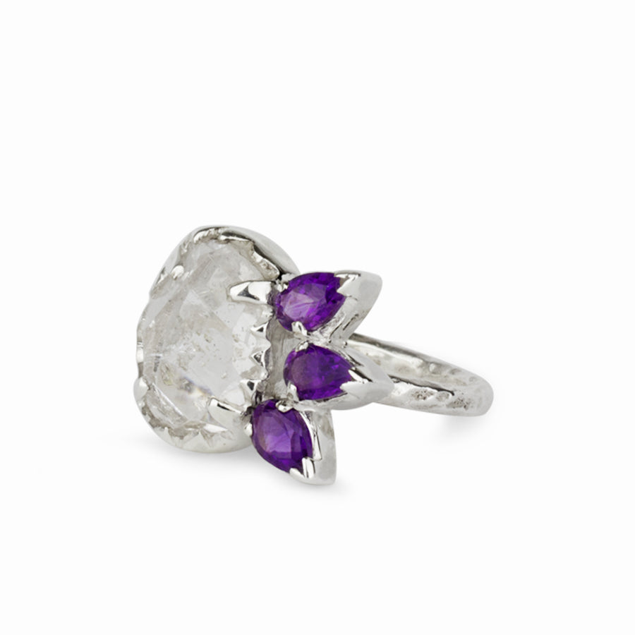 Amethyst & Herkimer Diamond Ring