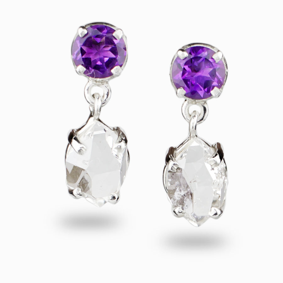 Herkimer Diamond & Amethyst Stud Drop Earrings
