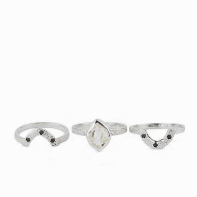 Herkimer Diamond, White Topaz & Black Diamond Ring