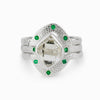 Herkimer Diamond & Emerald Ring