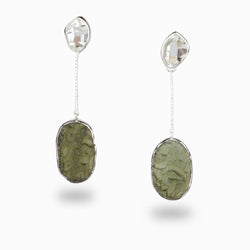 Herkimer Diamond & Moldavite Stud Drop Earrings