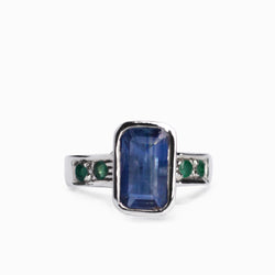 Kyanite and Emerald Ring