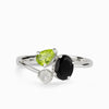 Black Onyx, Peridot & Rainbow Moonstone Ring