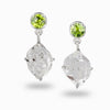 Herkimer Diamond & Peridot Earrings