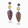 Ruby, Citrine & Pink Tourmaline Stud Drop Earrings