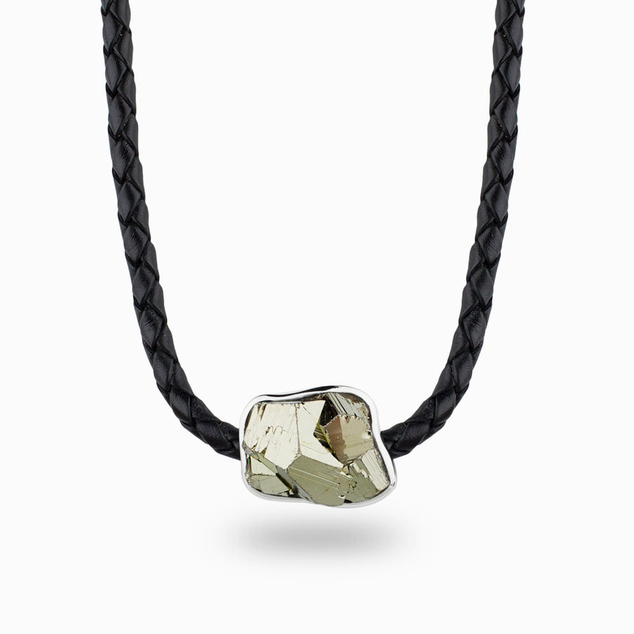 Pyrite Cluster Leather Necklace