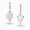Rainbow Moonstone & White Topaz Drop Earrings