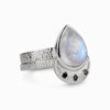 Rainbow Moonstone and Black Diamond Two Band Ring