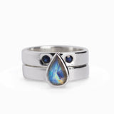 Rainbow Moonstone and Sapphire Two Band Ring