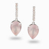 Rose Quartz & White Topaz Stud Drop Earrings