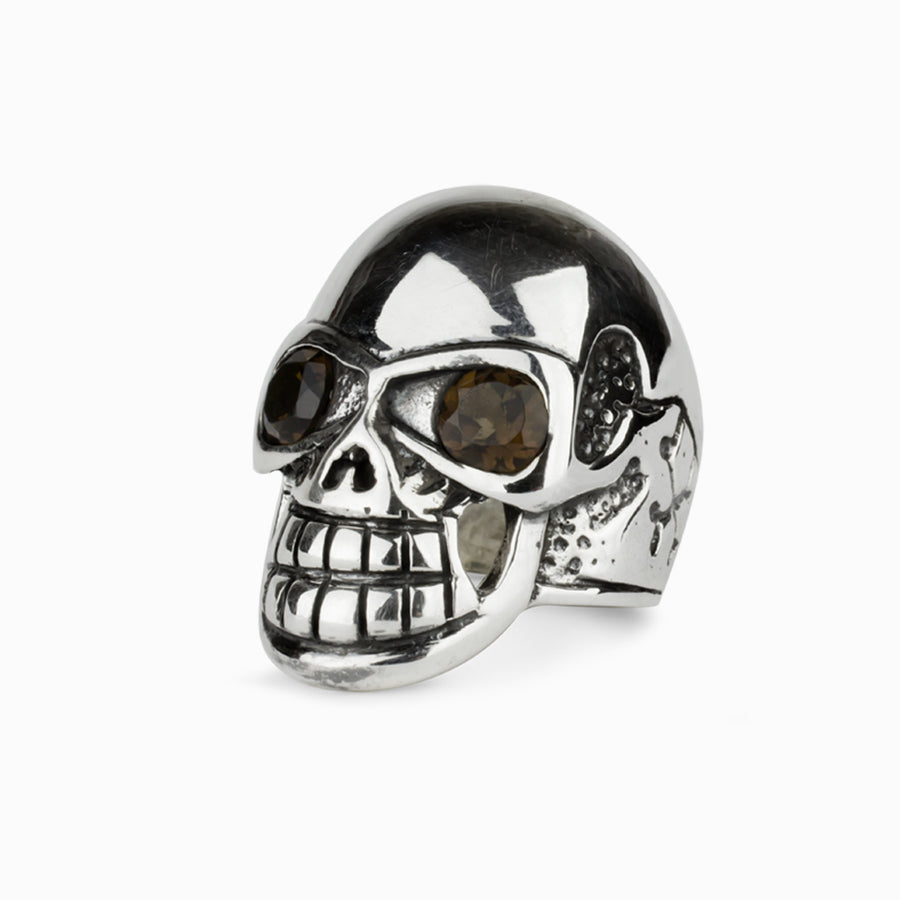 Smokey Quartz Skull Ring
